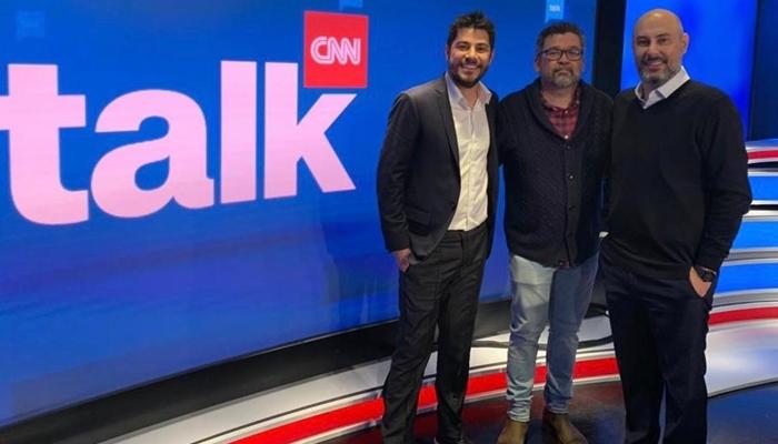 Evaristo Costa com Américo Martins e Douglas Tavolaro (Foto: Divulgação/CNN)