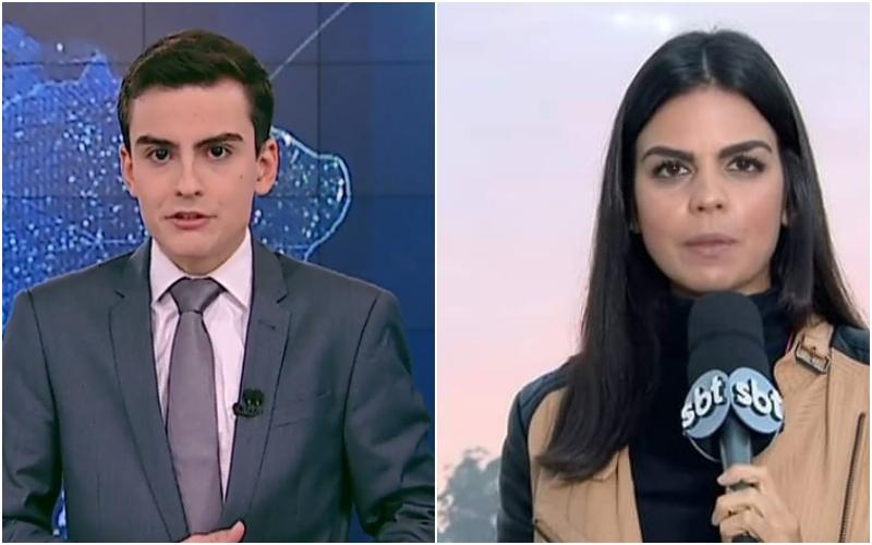 Apresentador do SBT, Dudu Camargo humilha jornalista Fernanda Trigueiro, ao vivo durante programa Primeiro Impacto' (Montagem TV Foco)