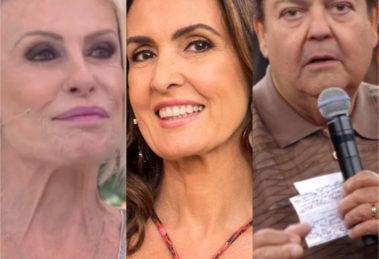 Os apresentadores Faustão, Ana Maria Braga e Fátima Bernardes falaram sobre o acidente envolvendo o filho de Luciano Huck e Angélica (Reprodução)