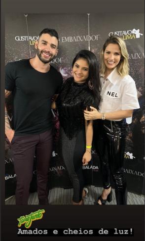 O cantor sertanejo Gusttavo Lima, sua esposa Andressa Suita e a digital influencer e ex-mulher do cantor Wesley Safadão, Mileide Mihaile