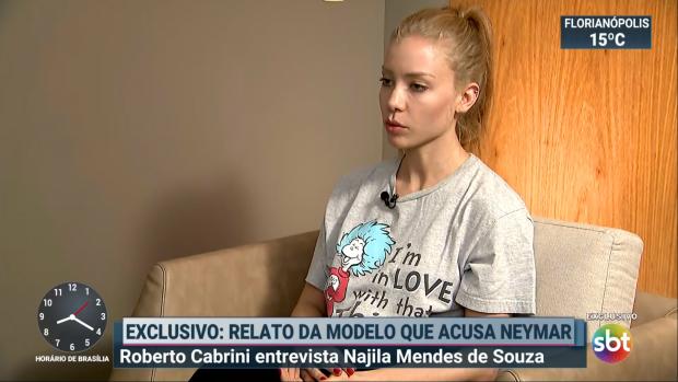 Najila Mendes Trindade está acusando o jogador de futebol Neymar de estupro e agressão. Investigações tomam rumo inesperado. (Imagem: ReproduçãoSBT)