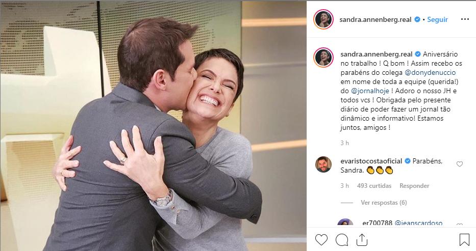 Sandra Annenberg e Dony de Nuccio (Foto: Reprodução/Instagram)