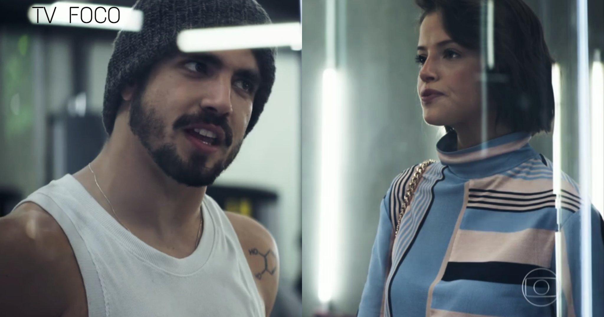Rock (Caio Castro) encara Josiane (Agatha Moreira) de frente na novela da Globo A Dona do Pedaço