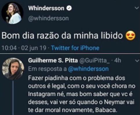 O humorista Whindersson Nunes foi humilhado nas redes sociais, logo após fazer piada com a situação do jogador da seleção brasileira, Neymar Jr.
