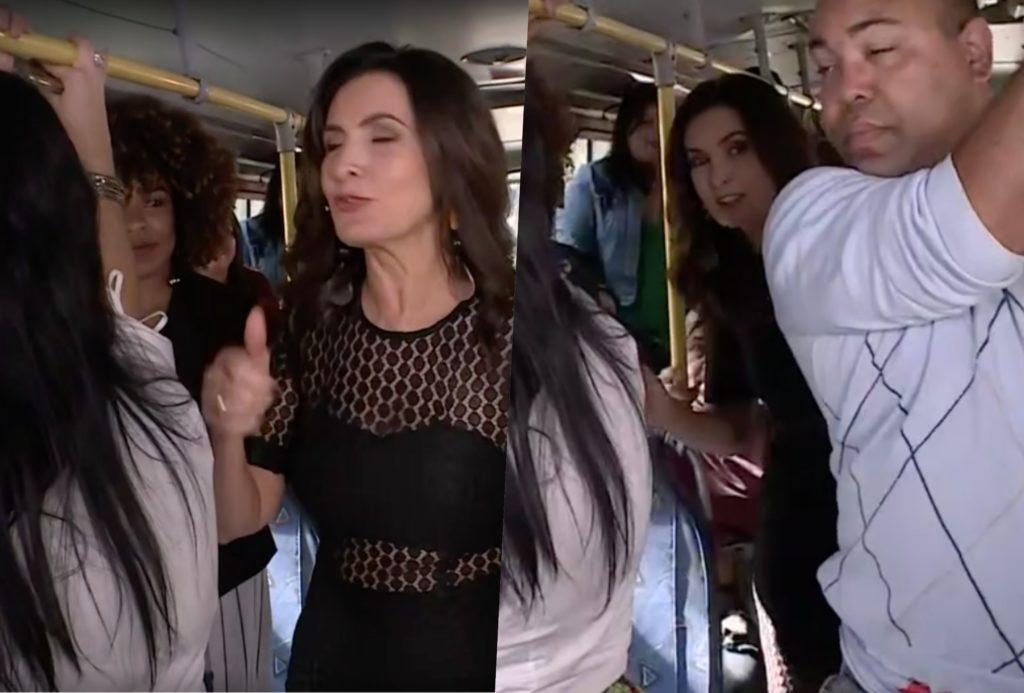 Fátima Bernardes chegou no Encontro da Globo de ônibus