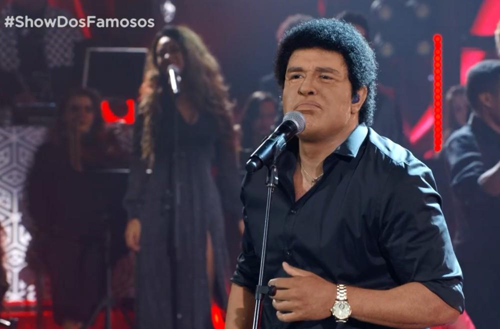 Globo Diogo Nogueira cantou 'Fogo e Paixão' em uma homenagem a Wando no' Show dos Famosos' — (Foto: TV Globo)
