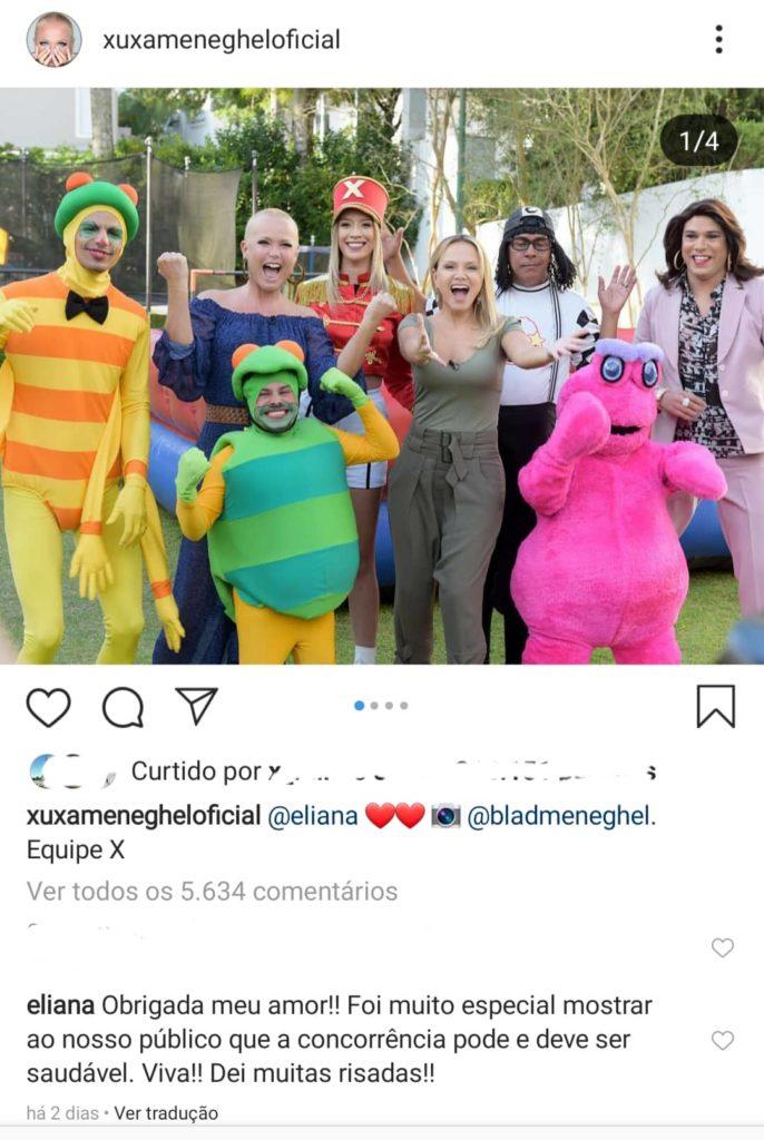 Xuxa postou fotos dos bastidores da entrevista com Eliana rodrigo faro (Reprodução: Instagram)
