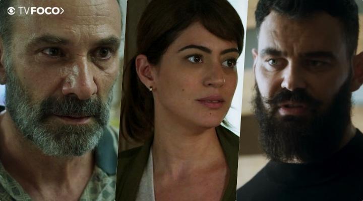 Elias (Marco Ricca), Helena (Carol Castro) e Paul (Carmo Dalla Vecchia) são personagens de Órfãos da Terra da Globo