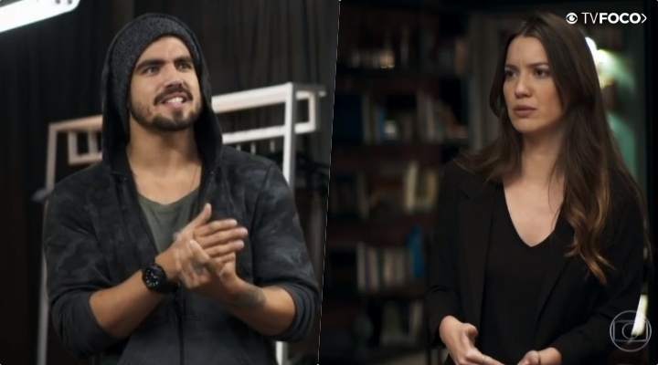 Fabiana (Nathalia Dill) e Rock (Caio Castro)tem um caso em A Dona do Pedaço da Globo