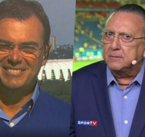 Galvão Bueno e Tino Marcos durante transmissão de Futebol na Globo