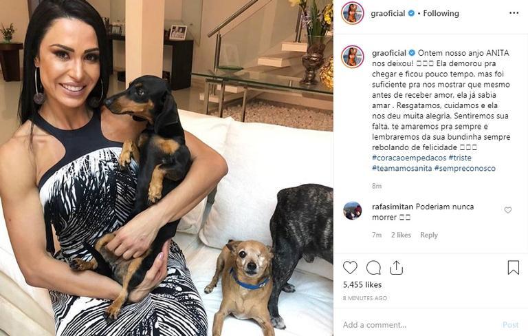 Gracyanne Barbosa e cantor Belo perdem animal de estimação e a musa fitness fez uma linda declaração em sua rede social ( Foto: Reprodução/ Instagram)