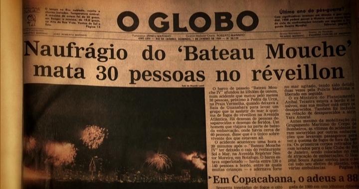 Jornal O Globo destacou tragédia em pleno Réveillon. (Foto: Reprodução)