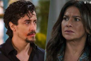 Jerônimo (Jesuíta Barbosa) e Janaína (Dira Paes) são mãe e filho na trama de Verão 90 da Globo