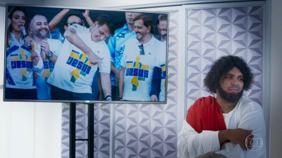 No Zorra, Jesus Cristo (Paulo Vieira) critica Marcha para Jesus com o presidente Jair Bolsonaro (Imagem: Reprodução/TV Globo/Uol)