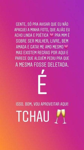 A atriz, Juliana Silveira se manifesta após ter foto retirada no Instagram (Imagem: Instagram)
