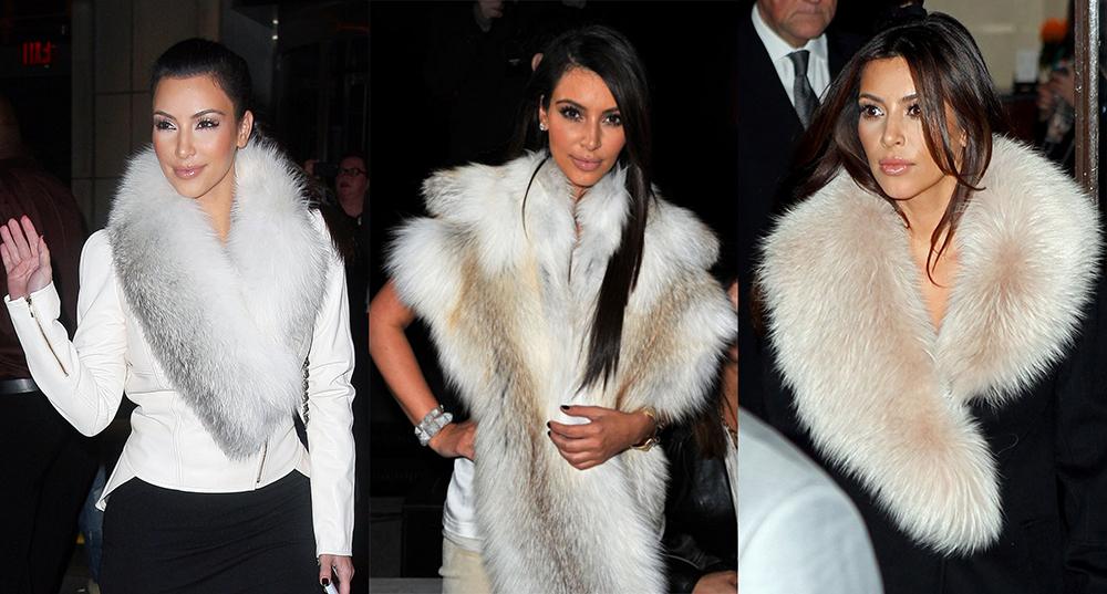 Kim Kardashian usando roupa de pele de animal (Foto: Reprodução)