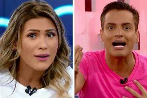 Leo Dias e Livia Andrade discutiram ao vivo no programa Fofocalizando (Foto: Reprodução)