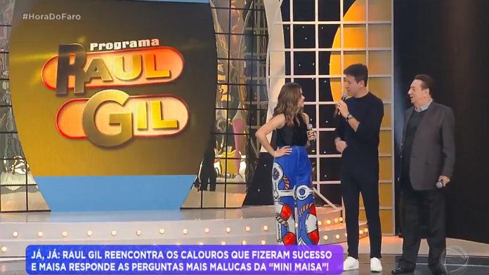 Maisa, Rodrigo Faro e Raul Gil no Hora do Faro (Reprodução/Record TV).