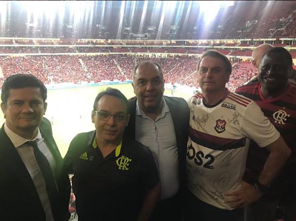 Bolsonaro, Moro e outros assistiram partida do Flamengo (Foto: Reprodução)