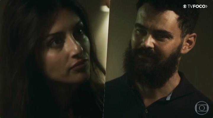 Paul (Carmo Dalla Vecchia) e Camila (Anaju Dorigon) em Órfãos da Terra da Globo