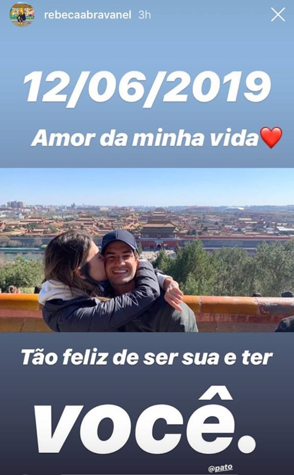 Rebeca Abravanel, filha de Silvio Santos, usa seu Instagram para se declarar à Alexandre Pato no Dia dos Namorados (Imagem: Instagram)