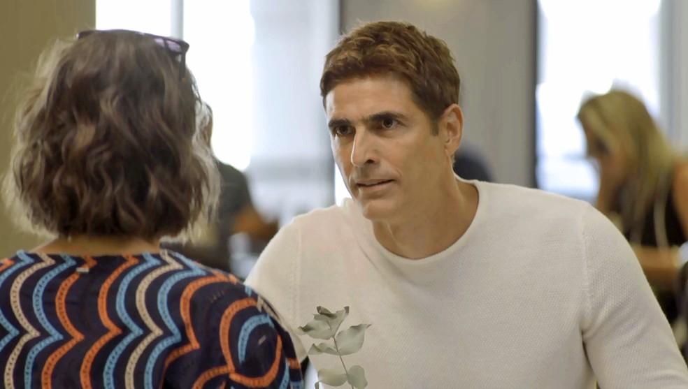 Régis (Reynaldo Gianecchini) vai romper com Josiane (Agatha Moreira) e vilã planejará acabar com Maria da Paz em A Dona do Pedaço (Foto: Reprodução/Globo)