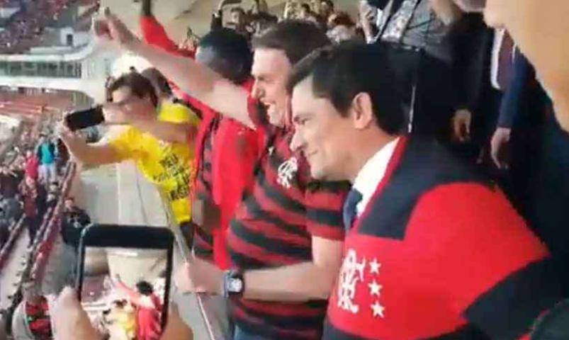 Presidente Bolsonaro e Ministro Moro durante partida de futebol (Foto: Reprodução)