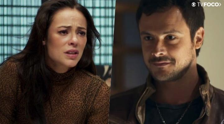 """Chiclete (Sergio Guizé) e Vivi Guedes (Paolla Oliveira) em """"A Dona do Pedaço"""", da Globo (Foto: Montagem/TV Foco)"""