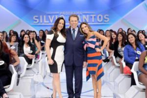 Silvio Santos entre as filhas, Patricia e Silvia Abravanel (Foto: Divulgação)