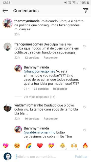 Após ser chamado de ladrão, Thammy Miranda se revolta com internauta (Reprodução: Instagram)
