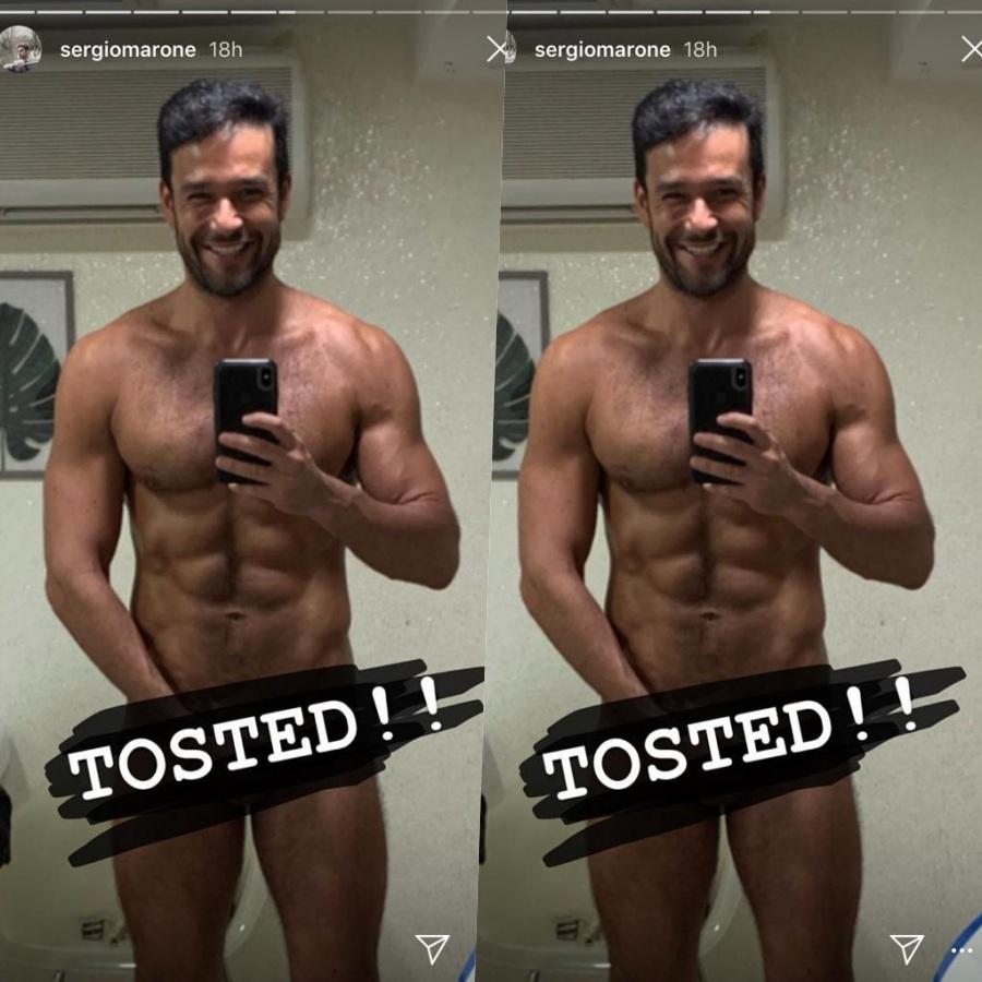 O ator e apresentador Sérgio Marone resolveu mostrar em foto no Instagram como veio ao mundo e deixou muita gente enlouquecida (Foto reprodução)