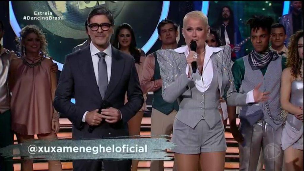 Junno Andrade e Xuxa Meneghel na estreia do Dancing Brasil 5, reality show exibido semanalmente pela Record. (Foto: Reprodução)