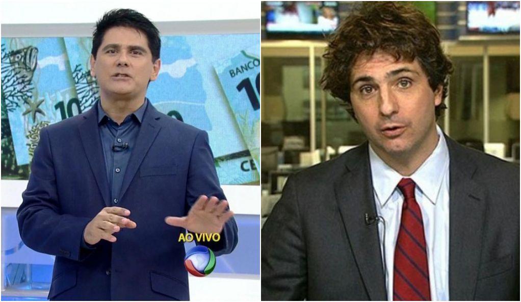 César Filho, da Record, e Guga Chacra, da Globo, tiveram uma discussão amistosa no Twitter (Foto: Montagem)