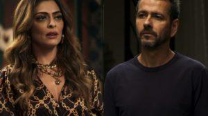 Maria da Paz (Juliana Paes) e Amadeu (Marcos Palmeira) na novela A Dona do Pedaço, da Globo. (Foto: Reprodução)