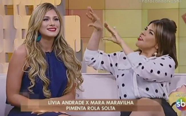 Lívia Andrade e Mara Maravilha no programa Fofocalizando, no SBT (Foto: Reprodução)
