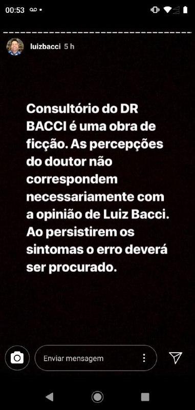 Luiz Bacci voltou a interagir com seus seguidores no Instagram