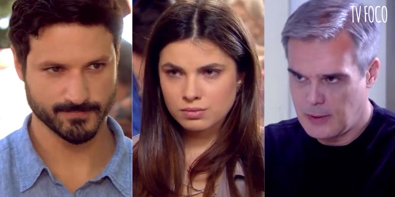 Marcelo, Luísa e Pendleton em As Aventuras de Poliana (Foto: Montagem/TV Foco)