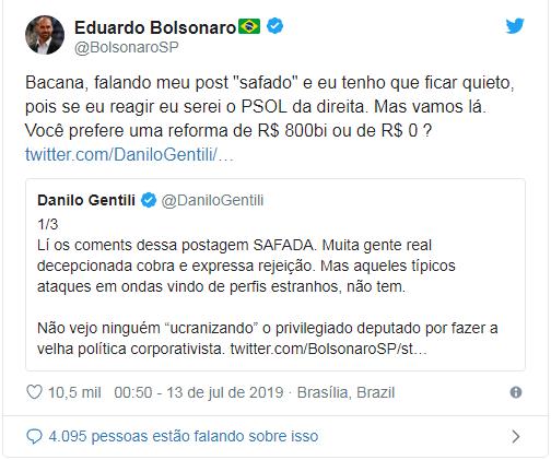 Eduardo Bolsonaro responde a críticas de Danilo Gentili