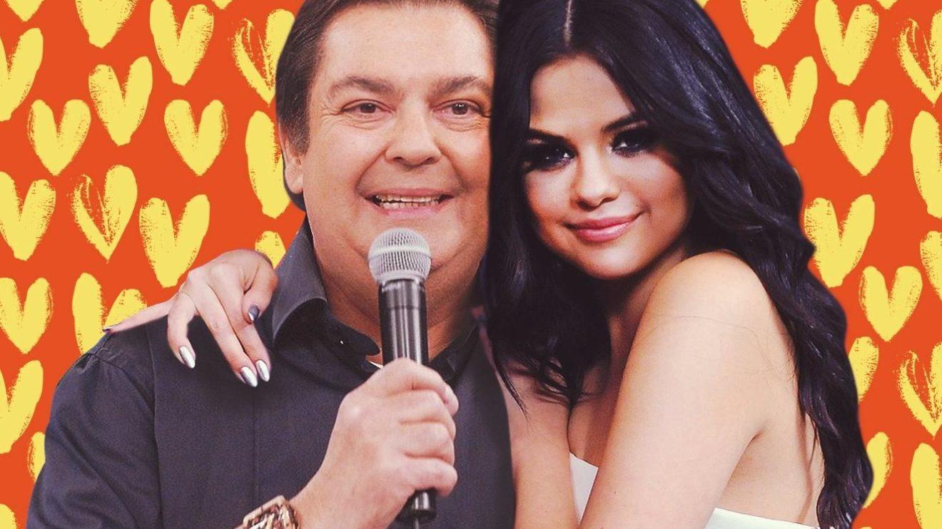 Faustão e Selena Gomez (Foto: Reprodução/Twitter)