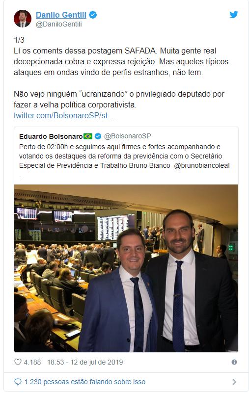 Troca de farpas Danilo Gentili e Eduardo Bolsonaro
