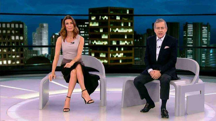 Janine Borba e Paulo Henrique Amorim (Foto: Divulgação/Record)
