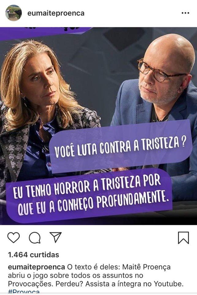 Maitê Proença e Marcelo Tas no Provocações da TV Cultura (Imagem: Instagram)
