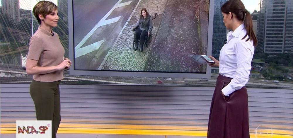 """Jornalista cadeirante do Bom Dia São Paulo, da Globo, apresentado por Gloria Vanique é humilhada e abandona reportagem: """"Me desculpem"""""""