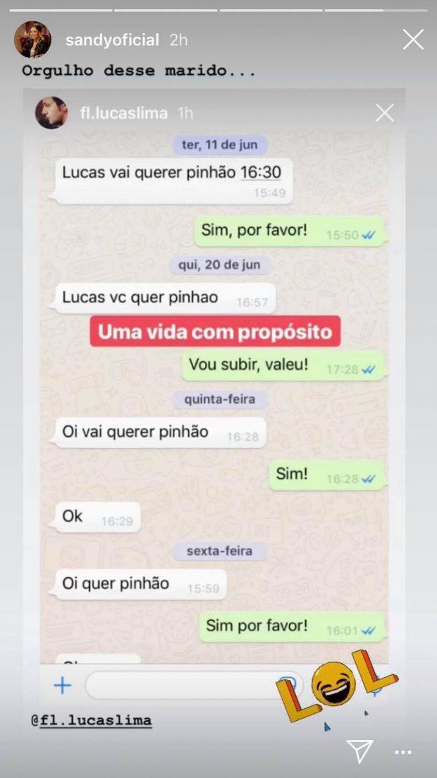 A filha do famoso cantor Xororó e irmã de Junior Lima, Sandy expôs conversas íntimas com o seu marido Lucas Lima (foto: Reprodução)