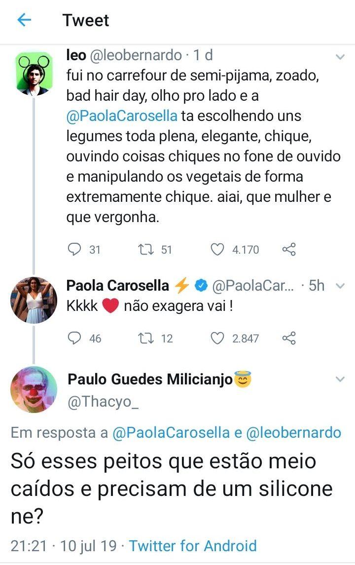 Exato momento em Paola Carosella é elogiada e depois humilhada por hater - Foto: Reprodução.