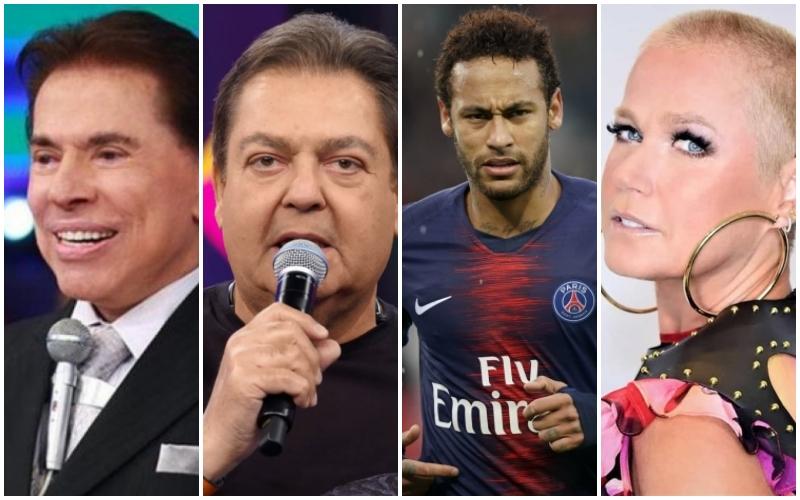 O dono do SBT, Silvio Santos, o apresentador da Globo, Faustão, o jogador da seleção brasileira, Neymar e a apresentadora da Record, Xuxa (Foto: Montagem TV Foco)
