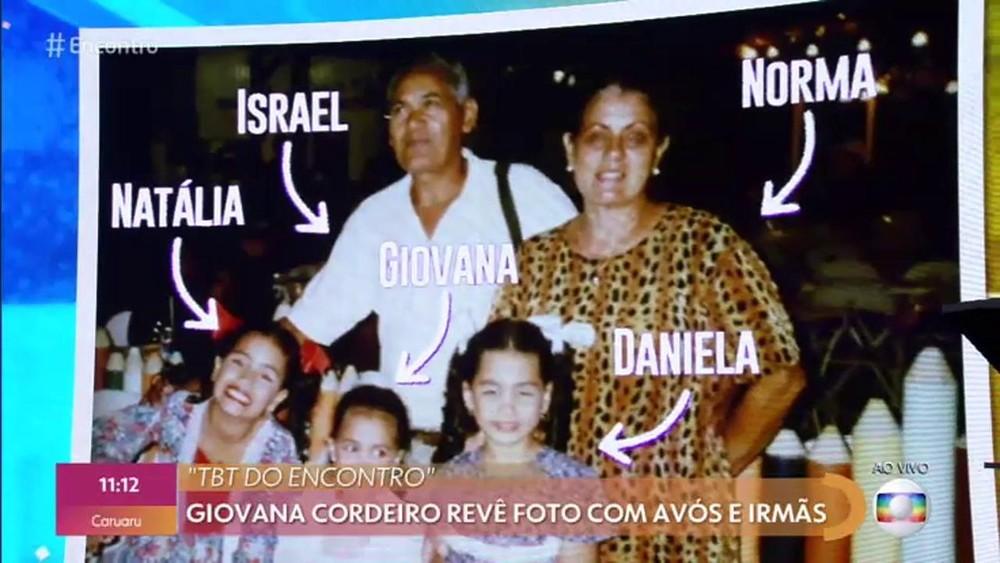 Foto íntima exibida no Programa Encontro, da infância de Giovana Codeiro (Foto: TV Globo)