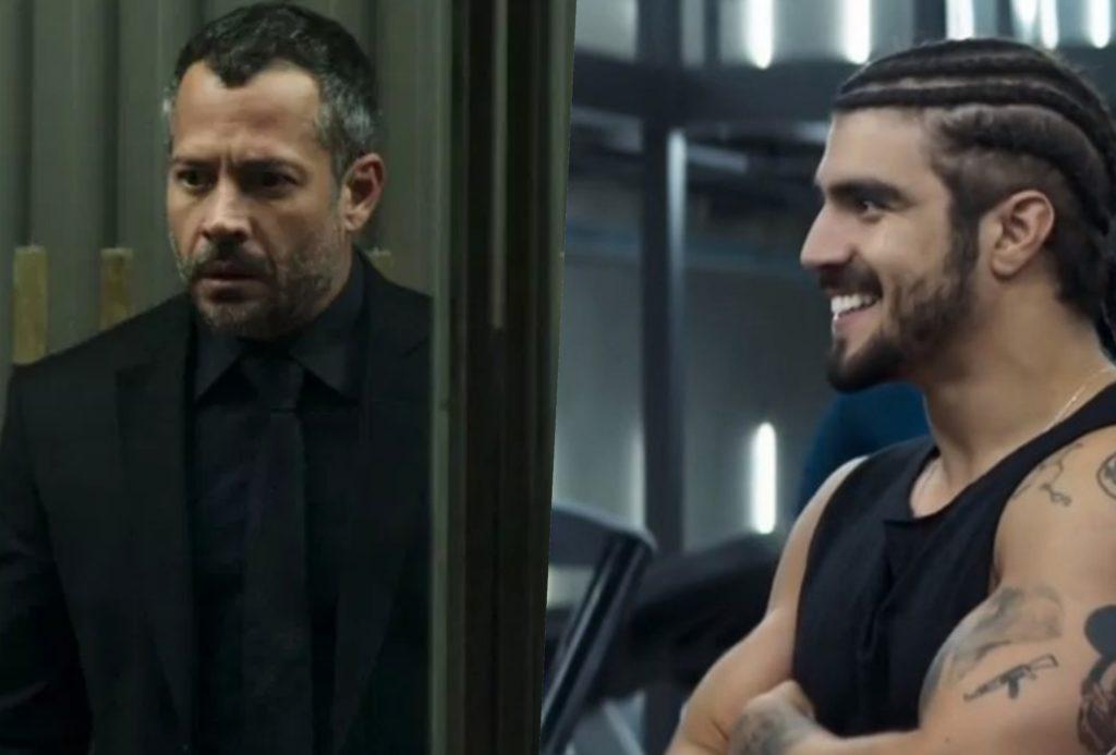 Agno (Malvino Salvador) vai conseguir ver Rock (Caio Castro) pela em A Dona do Pedaço (Foto montagem: TV Foco)
