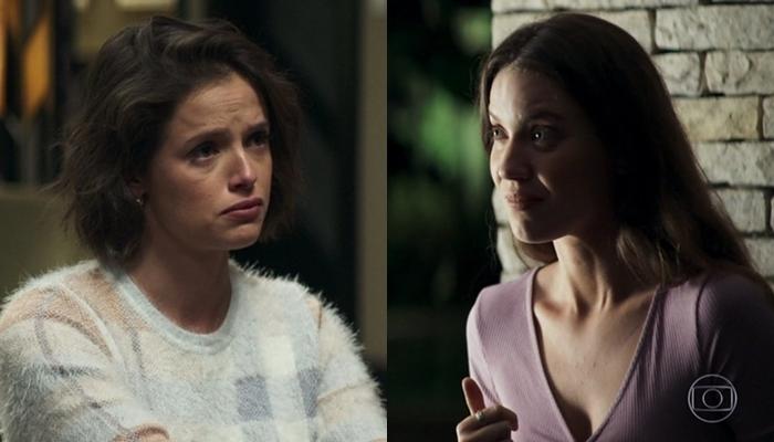Josiane (Agatha Moreira) será flagrada por Fabiana (Nathalia Dill) matando Jardel em A Dona do Pedaço (Foto: Reprodução/Globo)