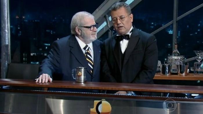 Jô Soares com Alex Rubio em seu talk show na Globo (Foto: Reprodução/Globo)